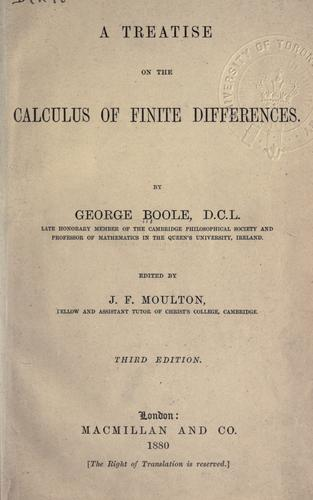 Treatise on the calculus of finite differences by George Boole