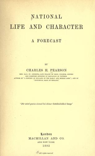 National life and character, a forecast.