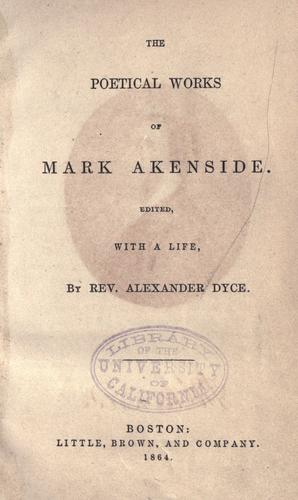 The poetical works of Mark Akenside by Mark Akenside