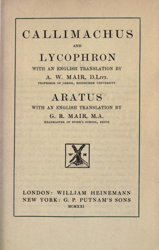 Callimachus and Lycophron by Callimachus.