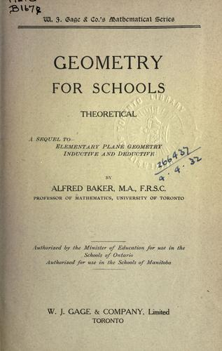 Geometry for Schools; theoretical by Baker, Alfred