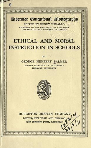 Ethical and moral instruction in schools.