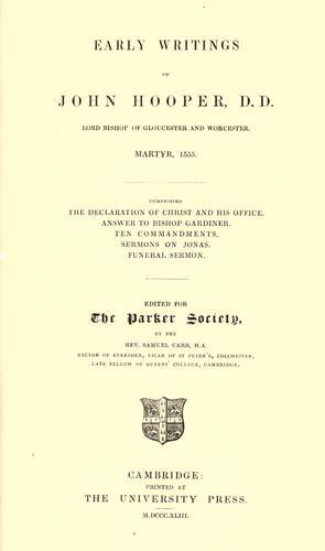 Early writings of John Hooper …
