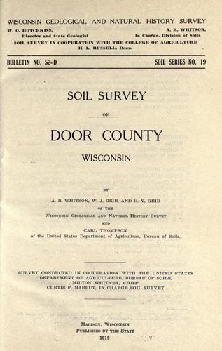 Soil survey of Door County, Wisconsin by A. R. Whitson
