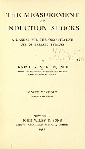 The measurement of induction shocks by Martin, Ernest Gale