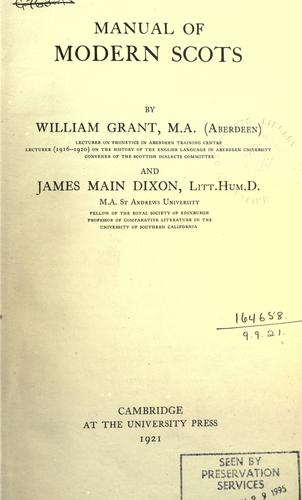 Manual of modern Scots by Grant, William