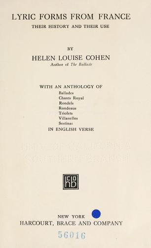 Lyric forms from France by Cohen, Helen Louise