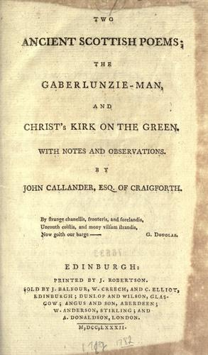 Two ancient Scottish poems by King of Scotland James I