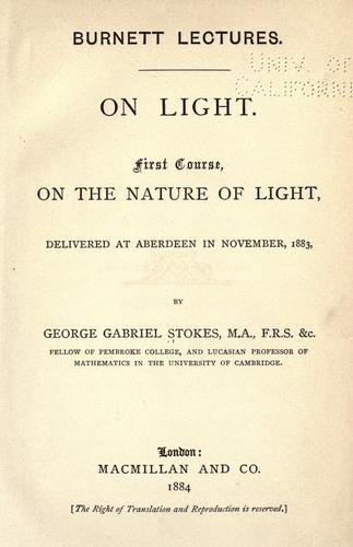 On light by Stokes, George Gabriel Sir
