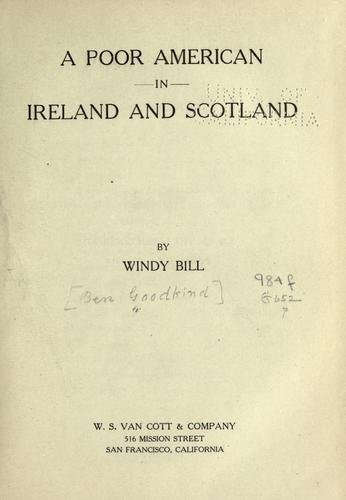 A poor American in Ireland and Scotland by Ben Goodkind