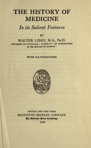 The history of medicine in its salient features