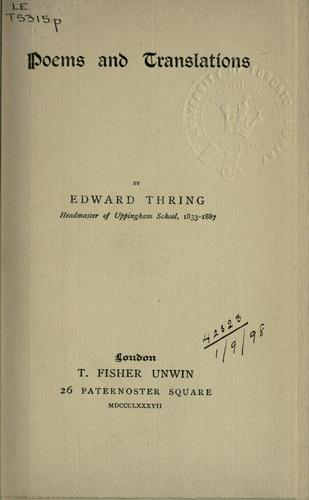 Poems and translations by Edward Thring