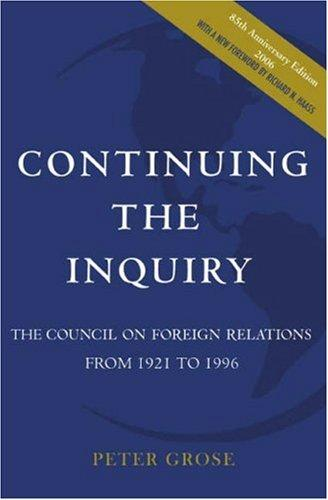 Continuing the inquiry by Peter Grose
