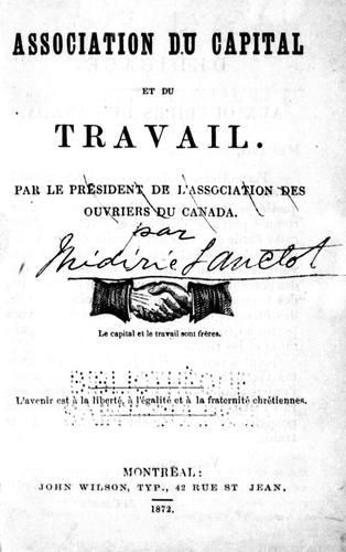 Association du capital et du travail by Médéric Lanctot