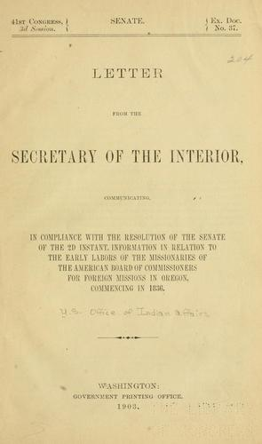 Letter from the secretary of the interior by United States. Bureau of Indian affairs