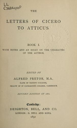 Letters to Atticus, Book I by Cicero