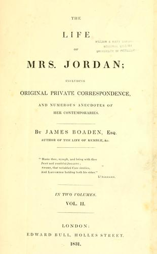 The life of Mrs. Jordan