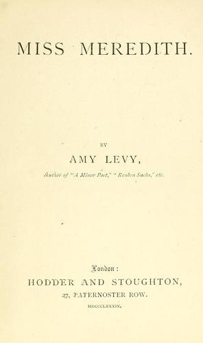 Miss Meredith by Amy Levy